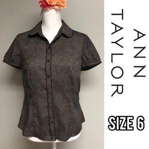 Ann Taylor Loft brown button up short sleeve shirt